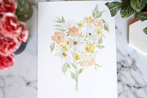 9x12 hand-painted bouquet