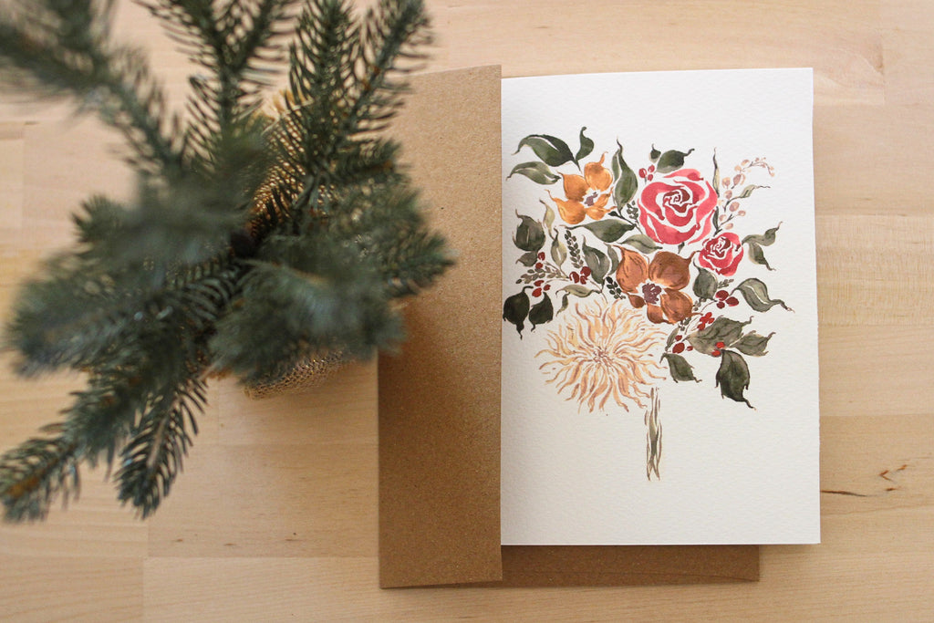 Sunflower Holiday Stationery Card