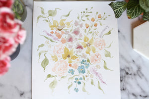 9x12 hand-painted spring blooms
