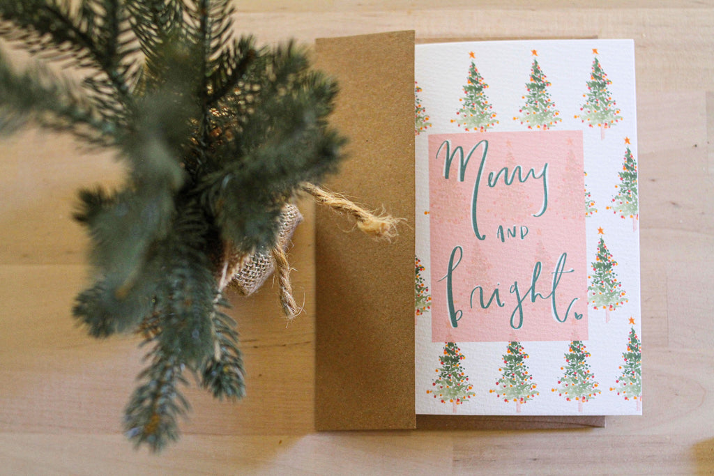 """Merry and Bright"" Embellished Card"