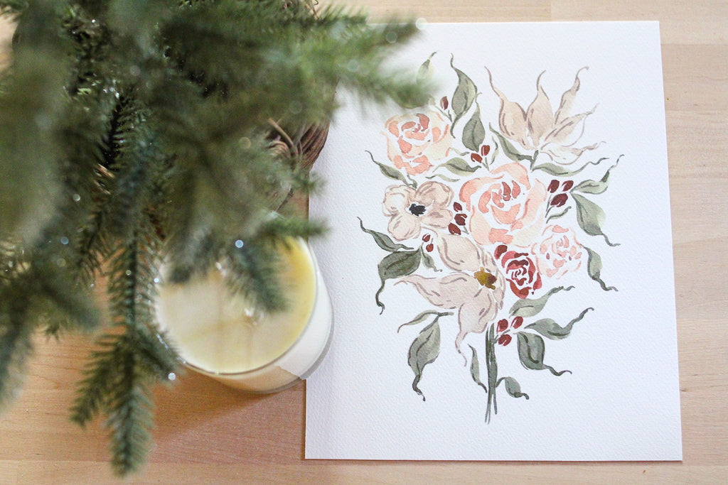 Lily Holiday Bouquet Print