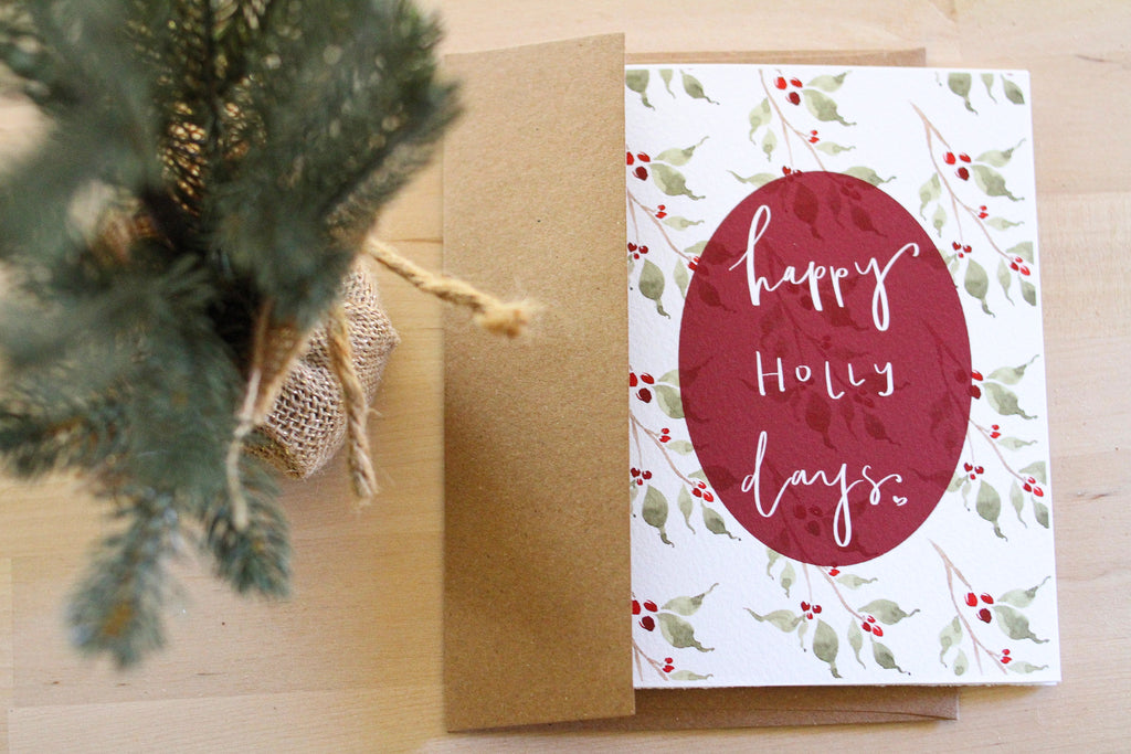 """Happy Holly Days"" Embellished Card"