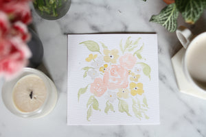 6x6 hand-painted warm-toned blooms