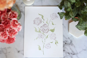 9x12 hand-painted hazy purple rose cluster