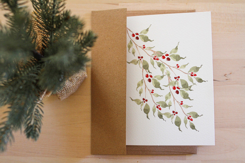 Holly Branch Stationery Card