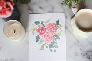 6x8 hand-painted rose cluster
