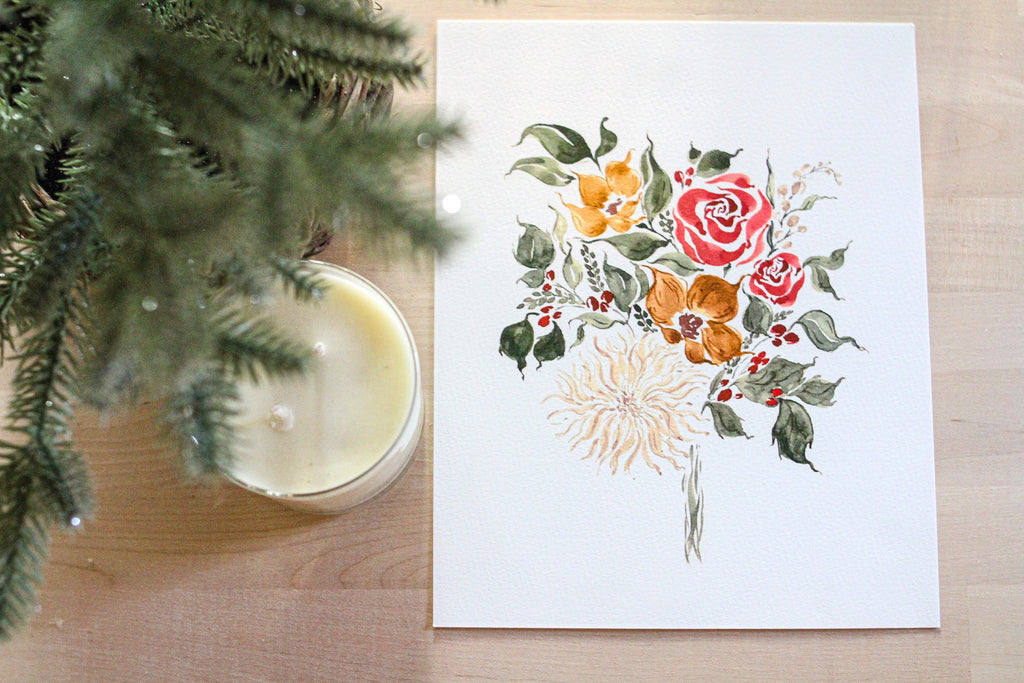 Holiday Sunflower Bouquet Print
