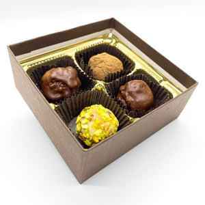 Artisan chocolate truffle gift box 4 ct
