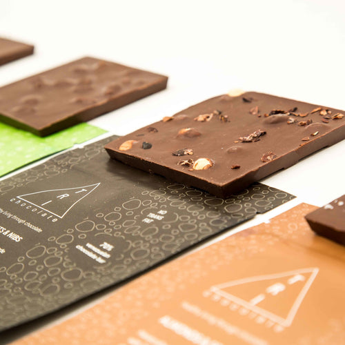 Our full line of 70% chocolate bars