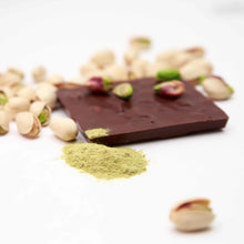 Load image into Gallery viewer, Matcha and Pistachios Chocolate Bar