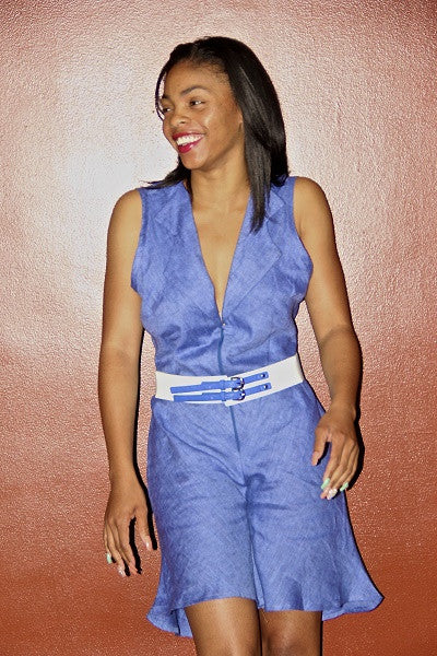 Denim Linen One Piece Jumpsuit