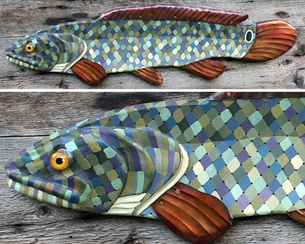 "37""Bowfin! Wood and Metal Fish Wall Art, Colorful Folk Art Fish, Fish Wall Sculpture, Lodge decor, handcrafted in Vermont, unique gift"