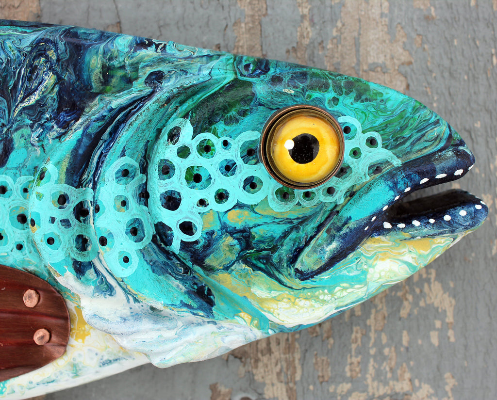 "26"" Abstract Trout / Paint Pour Art / Folk Art Wood Fish Wall Sculpture / Fisherman Gift for Lake House Decor"