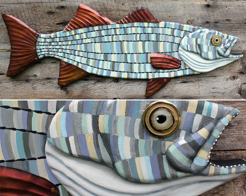 "30"" Striped Bass Wall Sculpture, Wood and metal fish art"