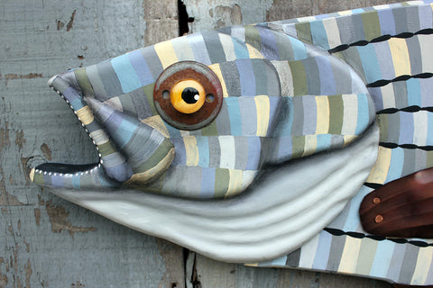 "42"" Striped Bass Wall Sculpture, Wood and metal fish art"