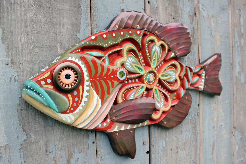 Carved Folk Art Fish Wall Art 27""
