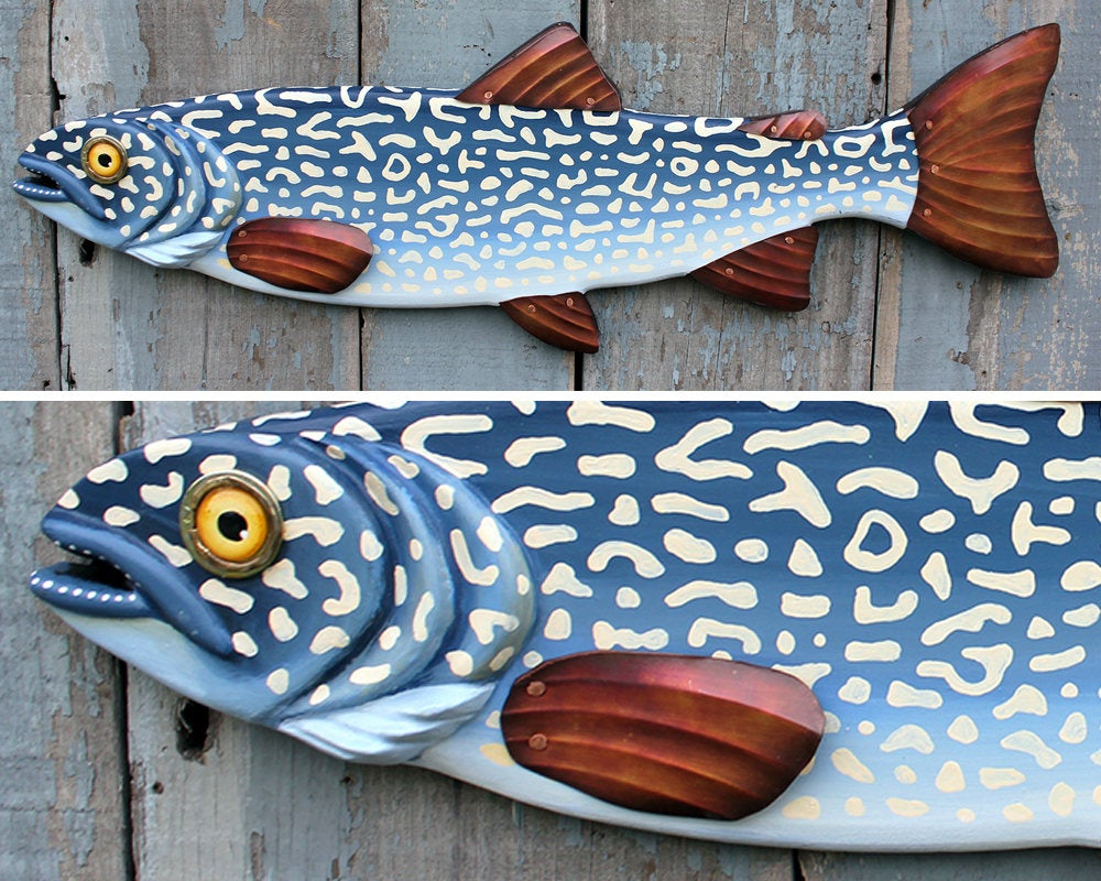 "33"" Lake Trout: Hand Painted Fly Fishing Wall Sculpture"