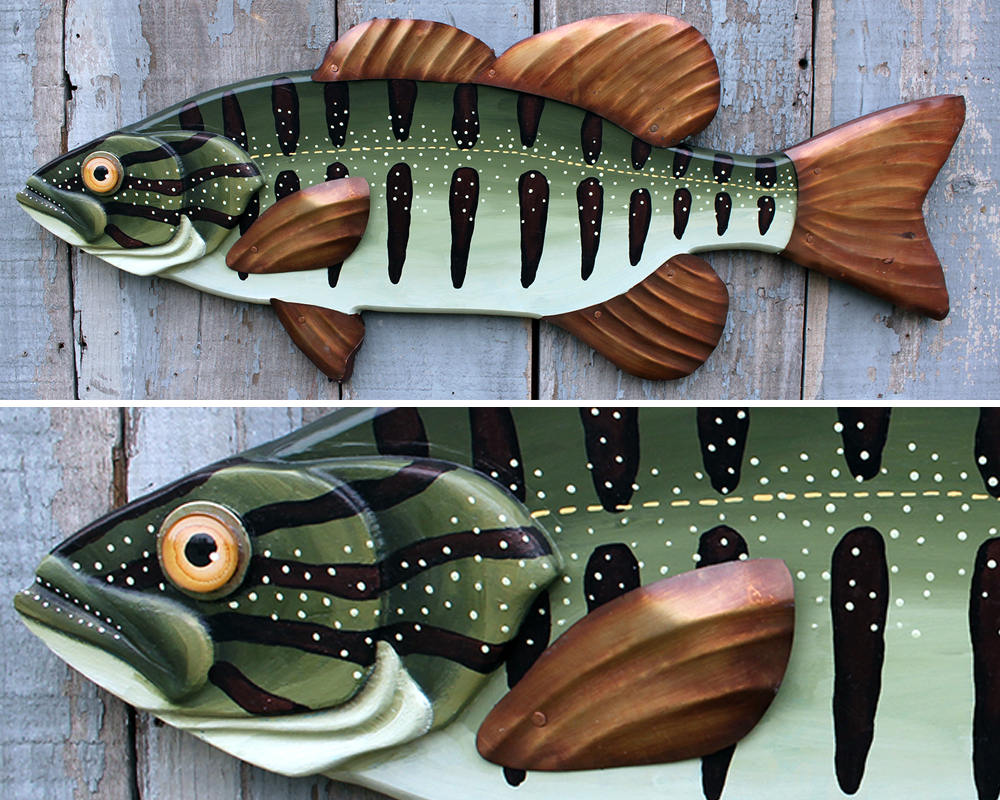 Bass Wall Folk Art Fish Wall Sculpture 32""