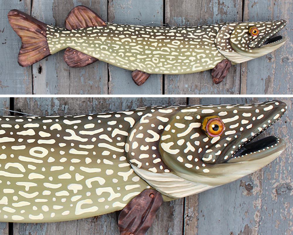 "33"" Northern Pike:  Lake House Decor, Hand Painted, Folk Art Fish Wall Sculpture"