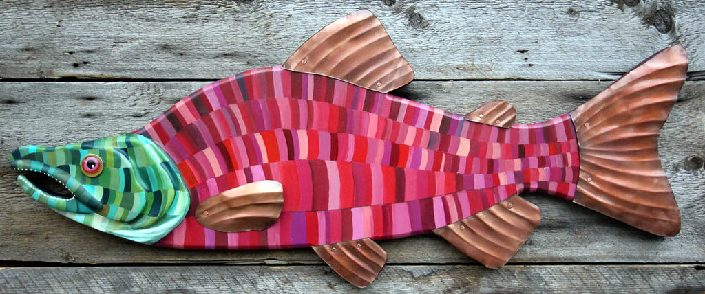 "36"" Sockeye Salmon Wall Hanging - Hand Painted Trout Art on Wood - Abstract Folk Art Gift for Her"