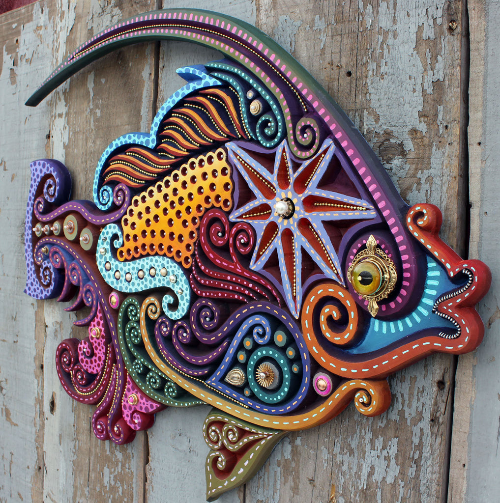 "30"" Bedazzled Angelfish Beach Decor Wall Hanging"