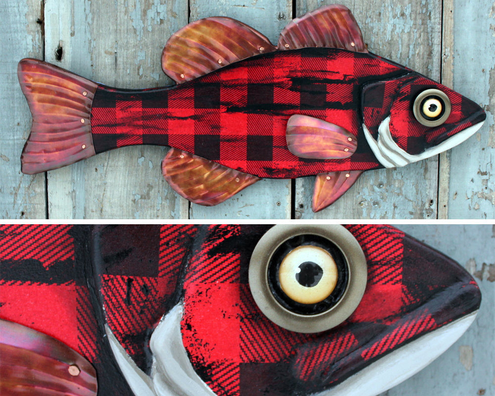 Buffalo Plaid Bass Folk Art Fish Wall Art 30""