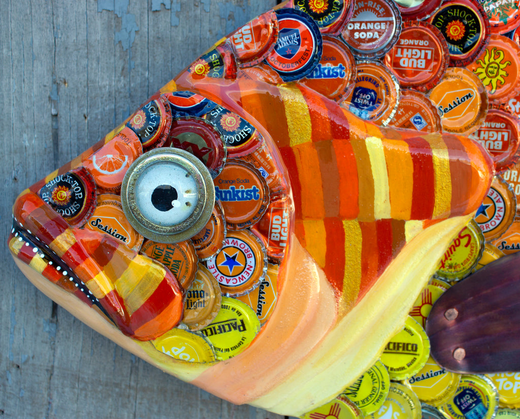 "28"" Sunfish Original Metal Bottlecap Fish Wall Sculpture Art"
