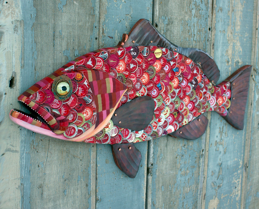 "34"" Red Grouper Bottle Cap Art, Metal Fish Wall Sculpture"