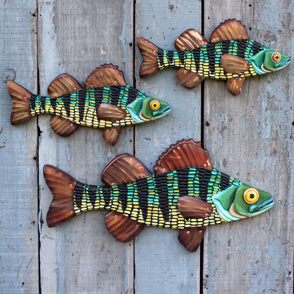 Colorful Perch Folk Art Fish Wall Art, 27""