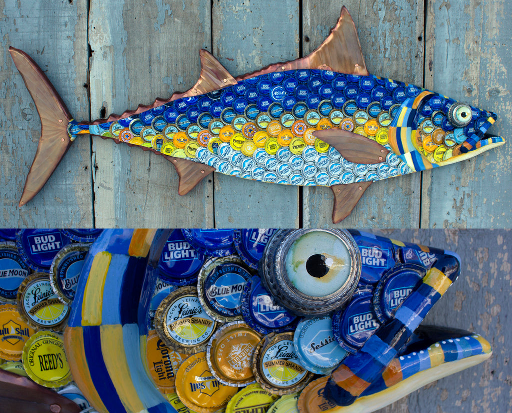 Tuna Large Fish Wall Sculpture Bottlecap Art 39""