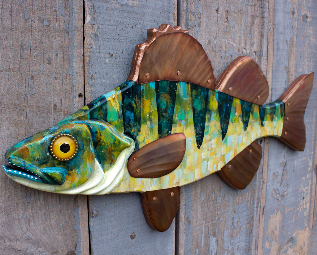 Perch Wall Sculpture, Wood and Copper Folk Art Fish 28""