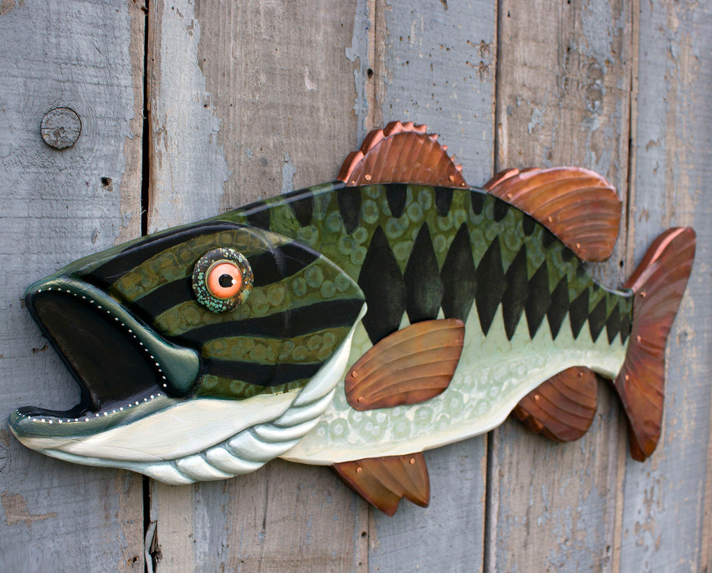 Huge Largemouth Bassl Folk Art Fish Wall Sculpture 35""