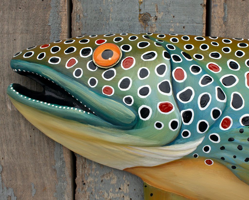 Big Earl, Colorful Brown Trout Wall Sculpture, Original Hand-painted Wood and Clay Folk Art Fish, Lake and Lodge Decor