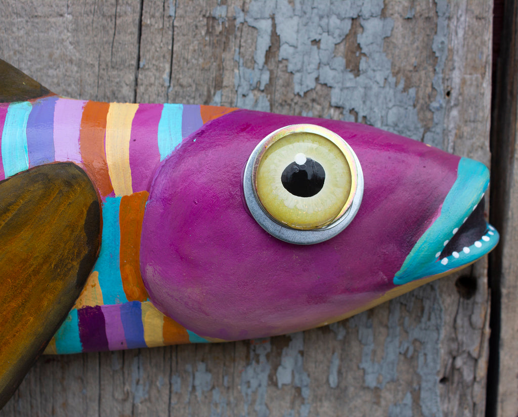 Winnie, Colorful Flying Fish Folk Art, Original Hand-Painted Wood and Clay Wall Sculpture, Coastal Decor, Fun Fish Art