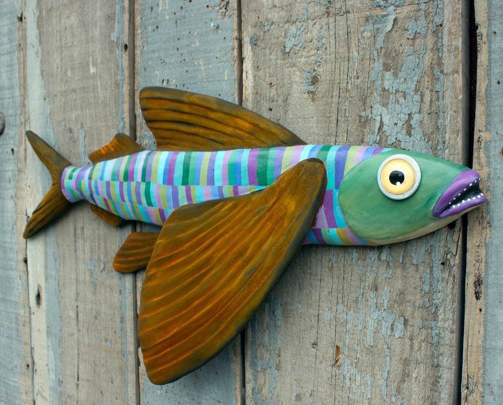 Boomer, Colorful Flying Fish Folk Art, Original Hand-Painted Wood and Clay Wall Sculpture, Coastal Decor, Fun Fish Art