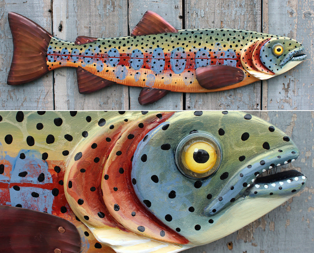 "37"" Trout Art on Wood - Hand Painted Fish Wall Hanging - Perfect Fisherman Gift & Lake House Decor"