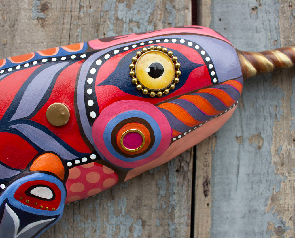 Narwhal! Colorful Folk Art Whale Wall Art 40""
