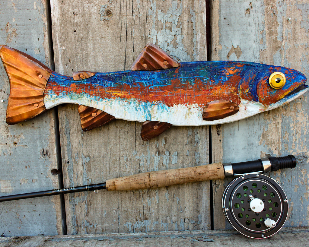 "18"" Trout Wall Sculpture, Metal Wall Sculpture, Hand Painted Beeswax Fish Art, Lakehouse Decor"