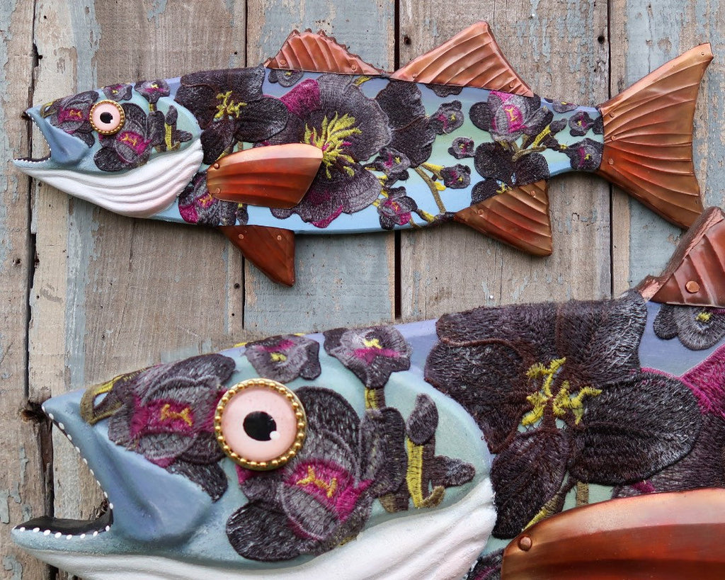 Ophelia, Floral Folk Art Fish, Original Hand-Painted Wood, Copper, Embroidery Sea Bass Wall Art, Fun Coastal Decor