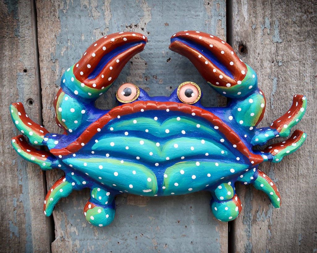 Carl, Colorful Crab Wall Sculpture, Original Hand painted Wood and Clay Folk Art, Fun Coastal Decor