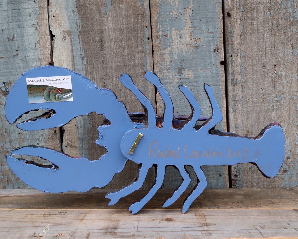 Leroy, Encaustic Lobster Folk Art, Hand painted Beeswax on Wood and Clay Wall Sculpture, Funky Folk Art, Coastal Decor