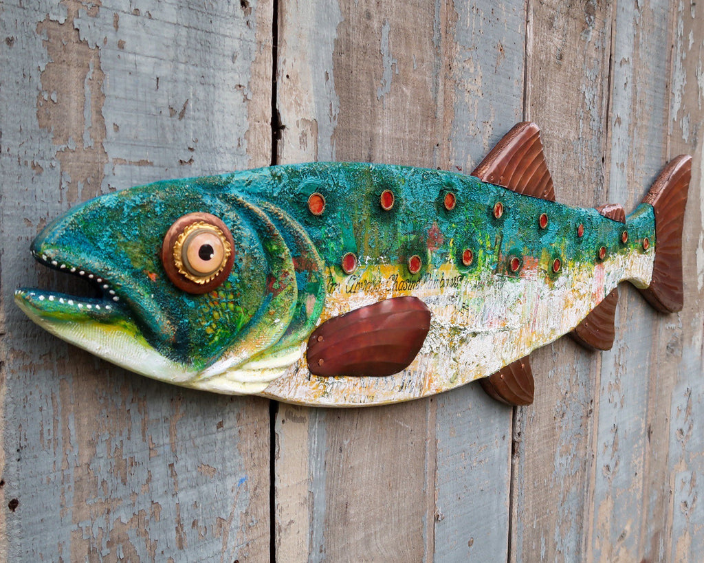 Dorothy, Large Colorful Trout, Beautiful Rustic Texture, Original Hand-painted Wood and Copper Folk Art Fish Wall Art, Lake and Lodge Decor