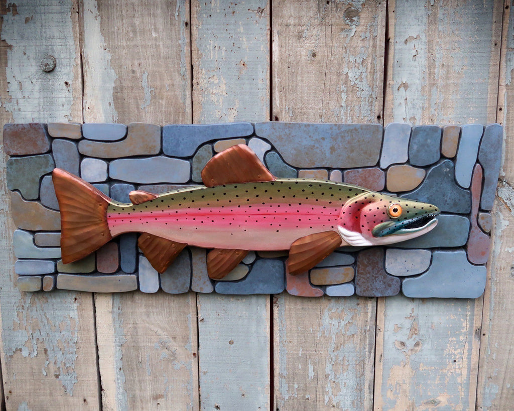 Chase, Steelhead Trout Folk Art Fish on Carved River Stone Background, Hand-painted Wood and Copper Wall Sculpture, Lake and Lodge Decor