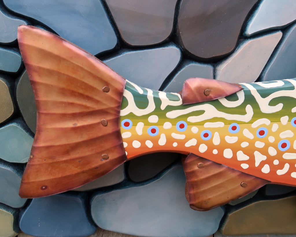 McKenzie, Wood and Copper Brook Trout on Carved River Stone Background, Lake and Lodge, Folk Art Fish Wall Art