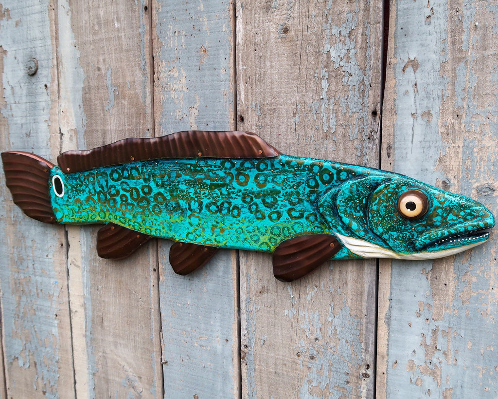 Llyod, Colorful Bowfin Folk Art Fish Wall Art, Original Hand-Painted Wood and Copper Sculpture, Made in Vermont, Lake and Lodge Decor