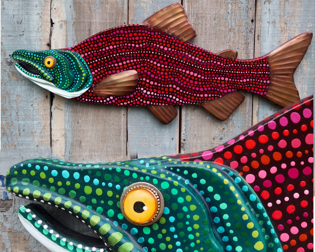 Dotty, Large Folk Art Fish Wall Sculpture, Colorful Hand-Painted Wood and Copper Sockeye Salmon Art, Original Lake and Lodge Decor
