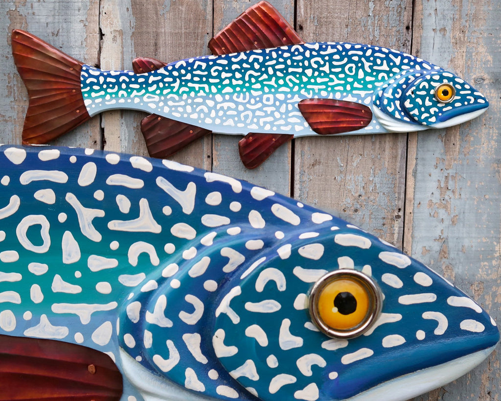 Patrick, Carved Wood and Copper Lake Trout, Folk Art Fish Wall Art, Original Art Made in Vermont, Lake and Lodge Decor