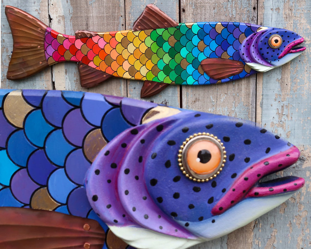 "GiGi, 37"" Colorful Rainbow Trout, Whimsical Folk Art Fish Wall Sculpture, Original Hand-painted Wood And Copper Sculpture, LGBT Pride"