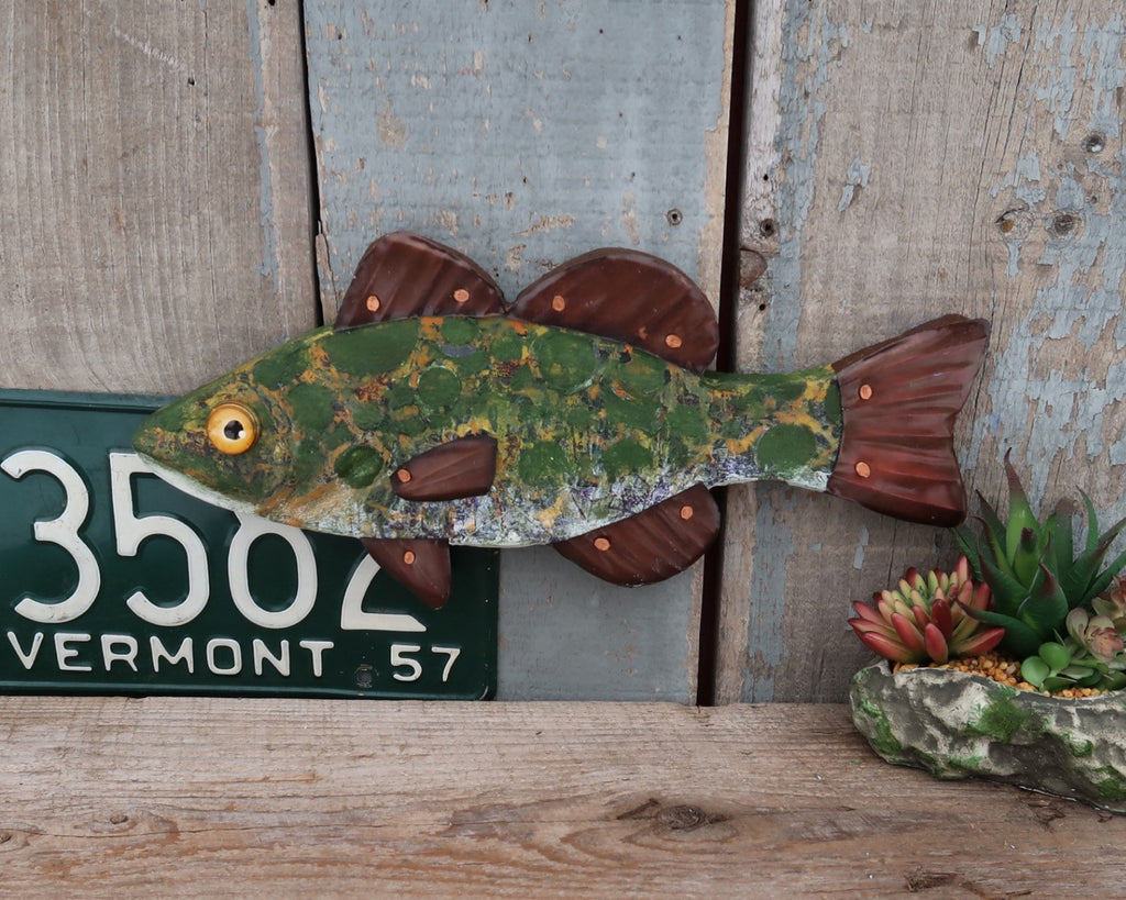 Bodie, Rustic Textural Bass Minnow,Folk Art Fish Wall Sculpture,Hand-painted Wood and Copper Fish, Abstract Art, Lake and Lodge Decor