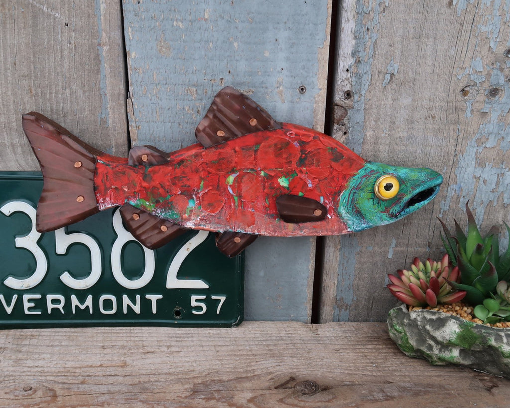Scarlet, Rustic Textural Salmon Minnow,Folk Art Fish Wall Sculpture,Hand-painted Wood and Copper Fish, Abstract Art, Lake and Lodge Decor